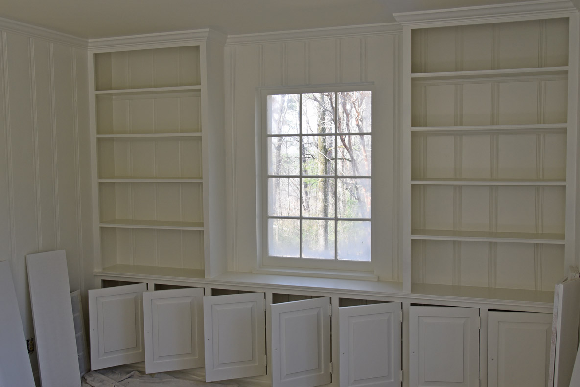 freshly painted bookcases
